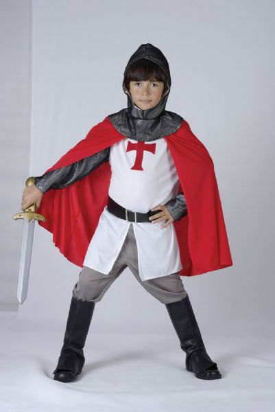 Boys Crusader Boy Costume Medieval Knight Arthur St George Fancy Dress Outfit